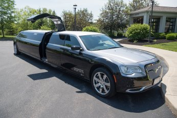 YC Limo Chrysler 300 Silver and Black Limo with Gull Wing Doors